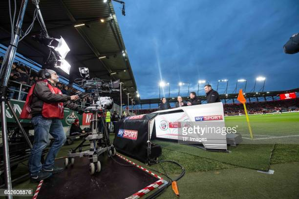 Sebastian Hellmann CEO Joerg Schmadtke of Cologne Lothar Matthaeus Christoph Metzelder look on during the Bundesliga match between FC Ingolstadt 04...