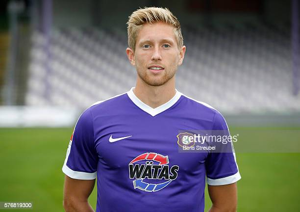 Sebastian Hertner of Erzgebirge Aue poses during the FC Erzgebirge Aue Team Presentation at Sparkassenerzgebirgsstadion on July 17 2016 in Aue Germany
