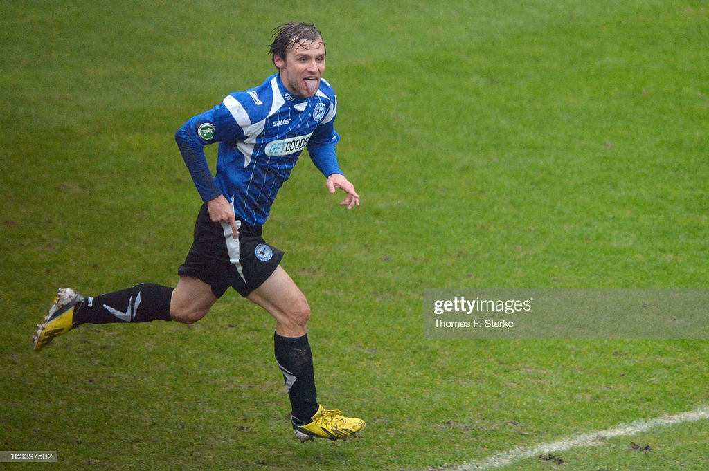 Sebastian Hille of Bielefeld celebrates scoring his team's first goal during the Third League match between Arminia Bielefeld and Preussen Muenster at Schueco Arena on March 9, 2013 in Bielefeld, Germany.