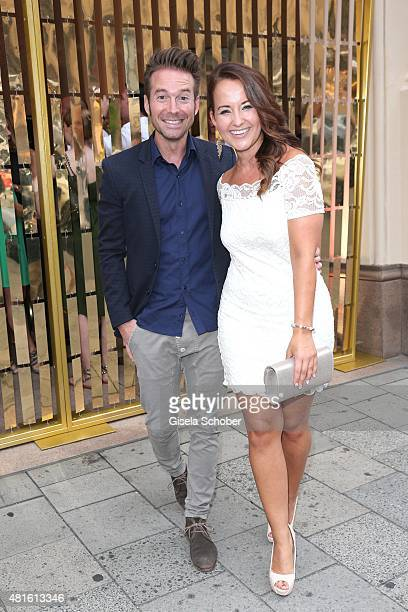 Sebastian Hoeffner and his girlfriend Susan Albers during the Eclat Dore summer party at Hotel Vier Jahreszeiten on July 22 2015 in Munich Germany