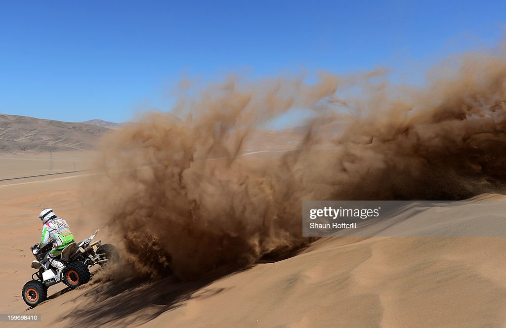 Sebastian Husseini of team Maxxis Dakar competes in stage 13 from Copiapo to La Serena during the 2013 Dakar Rally on January 18 in Copiapo, Argentina.