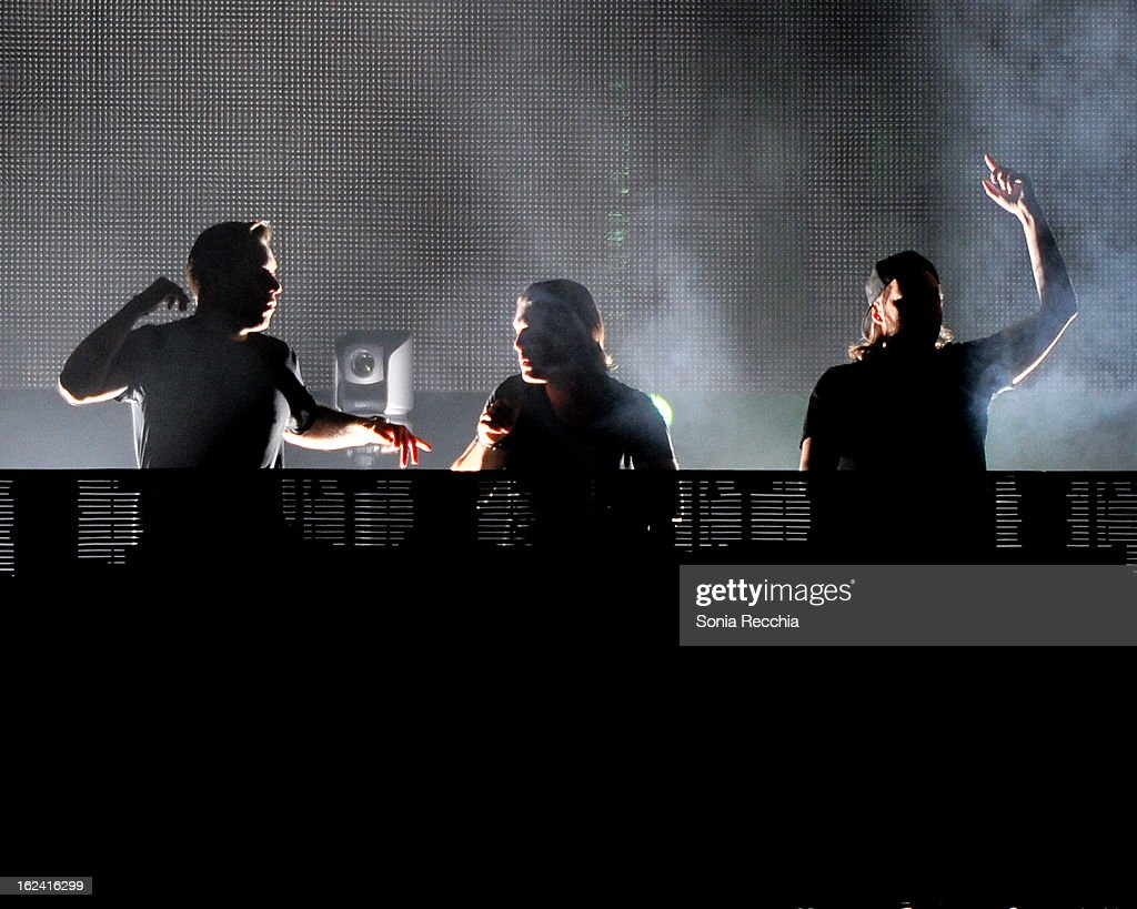 Sebastian Ingrosso, <a gi-track='captionPersonalityLinkClicked' href=/galleries/search?phrase=Axwell&family=editorial&specificpeople=5989822 ng-click='$event.stopPropagation()'>Axwell</a> and <a gi-track='captionPersonalityLinkClicked' href=/galleries/search?phrase=Steve+Angello&family=editorial&specificpeople=5737645 ng-click='$event.stopPropagation()'>Steve Angello</a> of Swedish House Mafia in concert at the Rogers Centre on February 22, 2013 in Toronto, Canada.