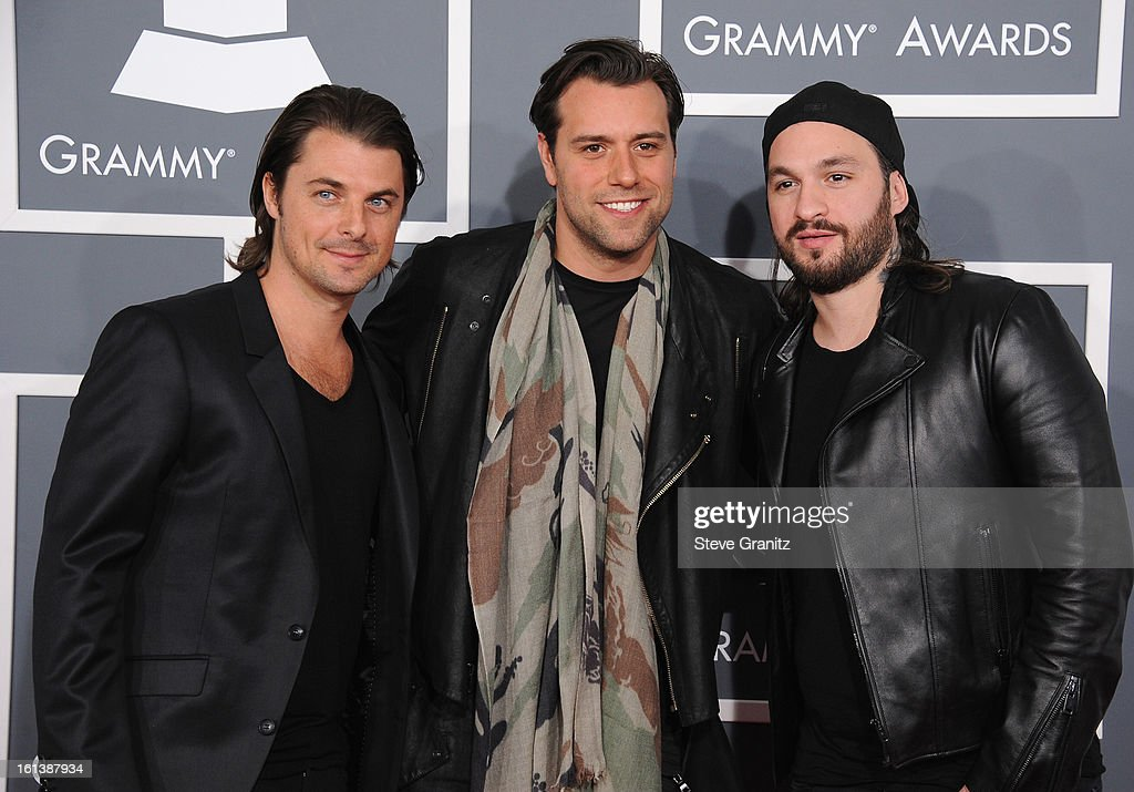 Sebastian Ingrosso, Axwell, and Steve Angello of Swedish House Mafia attend the 55th Annual GRAMMY Awards at STAPLES Center on February 10, 2013 in Los Angeles, California.