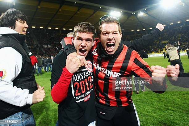 Sebastian Jung of Frankfurt celebrates with the fans after the Second Bundesliga match between Alemannia Aachen and Eintracht Frankfurt at Tivoli...