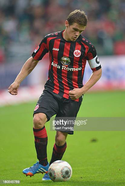 Sebastian Jung of Frankfurt in action during the Bundesliga match between Werder Bremen and Eintracht Frankfurt at Weserstadion on September 14 2013...