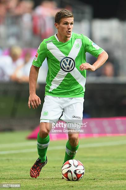 Sebastian Jung of VfL Wolfsburg controls the ball during the Telekom Cup 2014 final match between FC Bayern Muenchen and VfL Wolfsburg at Imtech...