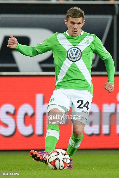 Sebastian Jung of Wolfsburg controls the ball during the Bundesliga match between VfL Wolfsburg and Hertha BSC Berlin at Volkswagen Arena on February...