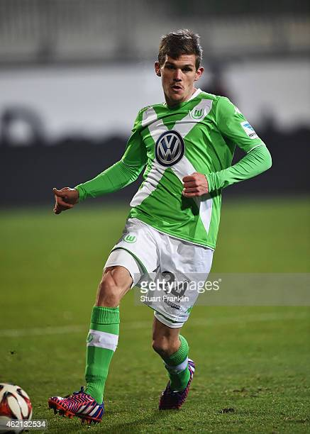 Sebastian Jung of Wolfsburg in action during a friendly match between VfL Wolfsburg and Karlsruher SC at the AOK stadium on January 23 2015 in...