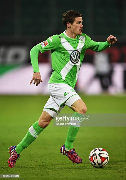 Sebastian Jung of Wolfsburg in action during the Bundesliga match between VfL Wolfsburg and 1899 Hoffenheim at Volkswagen Arena on February 7 2015 in...