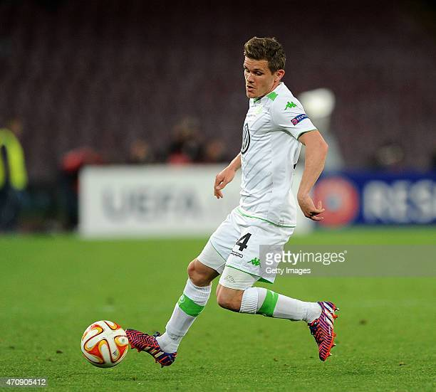 Sebastian Jung of Wolfsburg in action during the UEFA Europa League quarterfinal second leg match between SSC Napoli and VfL Wolfsburg on April 23...