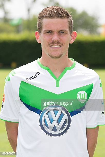 Sebastian Jung poses during the team presentation of VfL Wolfsburg at Volkswagen Arena on July 16 2015 in Wolfsburg Germany