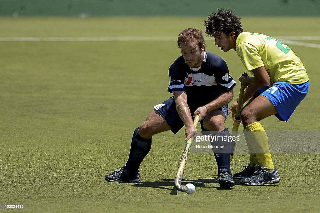 Sebastian Kapsch (L) of Chile in action during a match between Brazil and Chile as part of the Hockey World League - Round 2 at Complexo Esportivo de Deodoro on March 03, 2013 in Rio de Janeiro, Brazil.