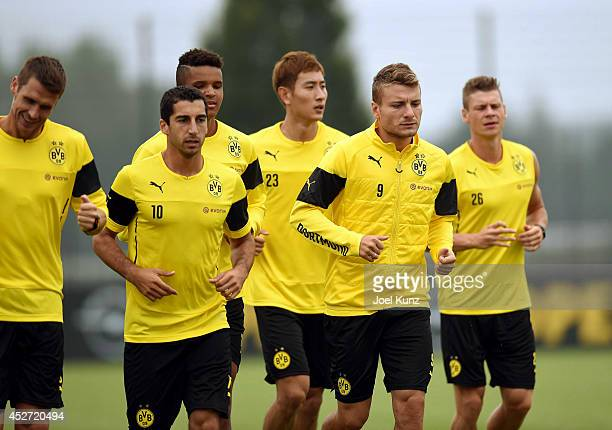 Sebastian Kehl Henrikh Mkhitaryan Marian Sarr DongWon Ji Ciro Immobile and Lukasz Piszczek during a training session at Borussia Dortmund training...
