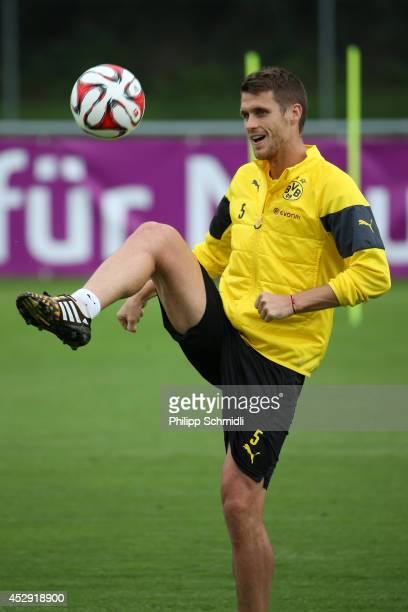 Sebastian Kehl juggles the ball during the Borussia Dortmund training camp on July 30 2014 in Bad Ragaz Switzerland