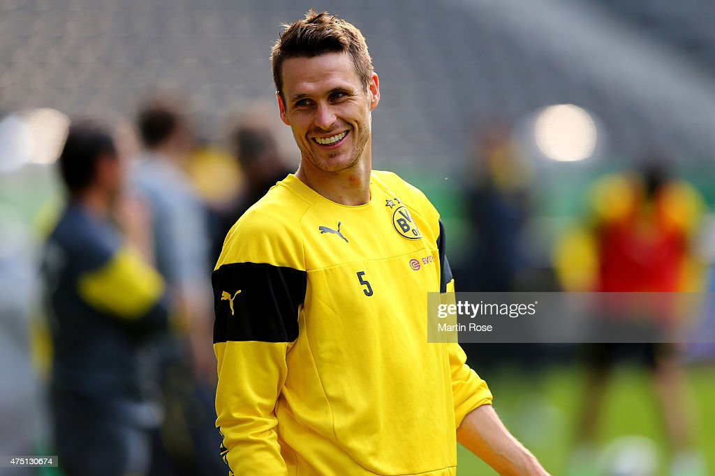 <a gi-track='captionPersonalityLinkClicked' href=/galleries/search?phrase=Sebastian+Kehl&family=editorial&specificpeople=486611 ng-click='$event.stopPropagation()'>Sebastian Kehl</a> of Borussia Dortmund looks on during the DFB Cup Final 2015 training session at Olympiastadion on May 29, 2015 in Berlin, Germany.