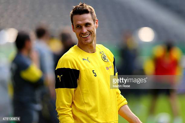 Sebastian Kehl of Borussia Dortmund looks on during the DFB Cup Final 2015 training session at Olympiastadion on May 29 2015 in Berlin Germany
