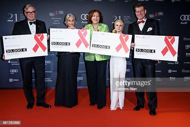 Sebastian Klatt Michaela Lange Elisabeth Pott Juliane Lipke and Johannes Evers attend the 21st Aids Gala at Deutsche Oper Berlin on January 10 2015...