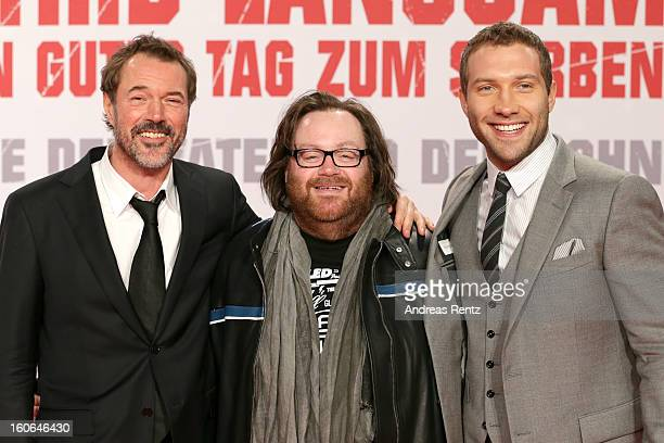 Sebastian Koch John Moore and Jai Courtney attend 'Die Hard Ein Guter Tag Zum Sterben' Germany Premiere at Cinestar Potsdamer Platz on February 4...
