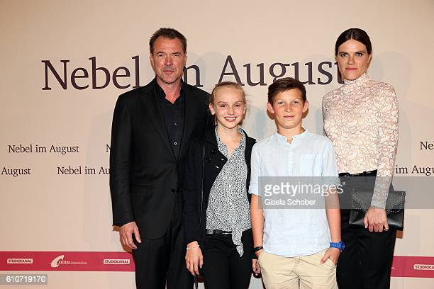 Sebastian Koch Jule Hermann Ivo Pietzcker and Fritzi Haberlandt during the premiere of the film 'Nebel im August' at City Kino on September 27 2016...