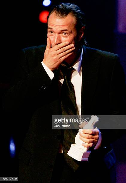 Sebastian Koch speaks at the Bavarian TV Price 'Blue Panther' ceremony on June 3 2005 in Munich Germany Koch was honored during the annual award...