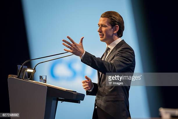 Sebastian Kurz Austrian Federal Minister gestures during at the annual CSU party congress on November 04 2016 in Munich Germany