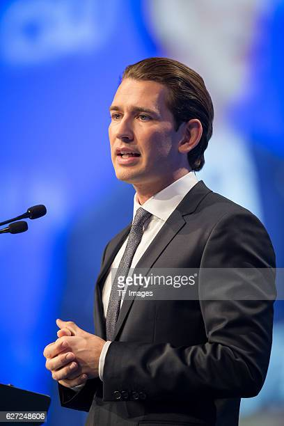Sebastian Kurz Austrian Federal Minister speak during at the annual CSU party congress on November 04 2016 in Munich Germany