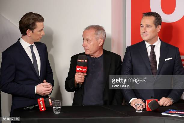 Sebastian Kurz Austrian Foreign Minister and leader of the conservative Austrian People's Party Peter Pilz leader of Liste Pilz and HeinzChristian...