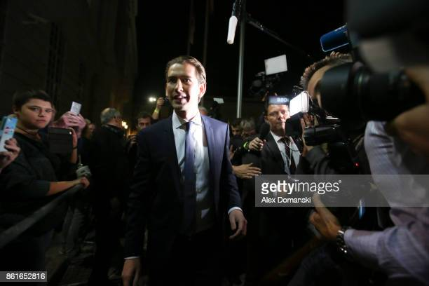 Sebastian Kurz Austrian Foreign Minister and leader of the conservative Austrian People's Party arrives for television interviews following Austrian...