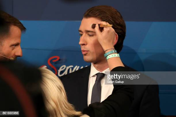 Sebastian Kurz Austrian Foreign Minister and leader of the conservative Austrian People's Party gets prepared for a television interview following...