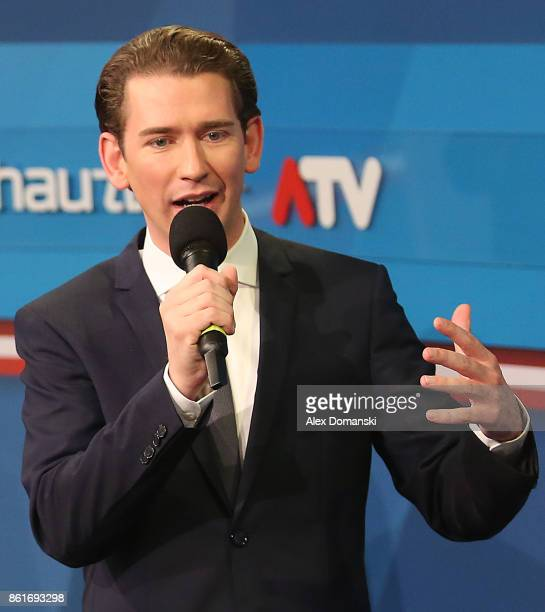 Sebastian Kurz Austrian Foreign Minister and leader of the conservative Austrian People's Party gives television interviews following Austrian...