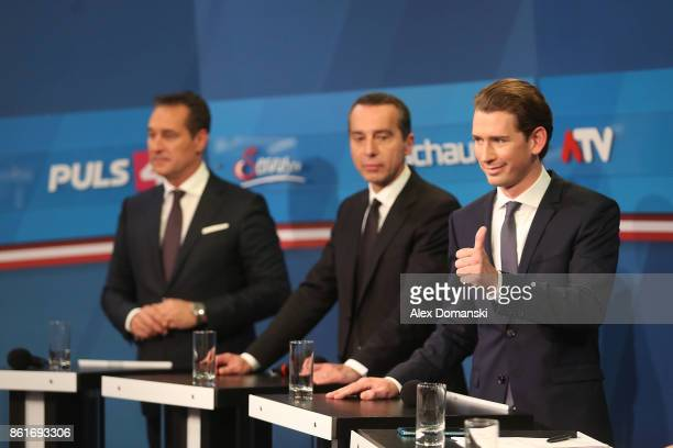 Sebastian Kurz Austrian Foreign Minister and leader of the conservative Austrian People's Party Christian Kern Austrian Chancellor and leader of the...