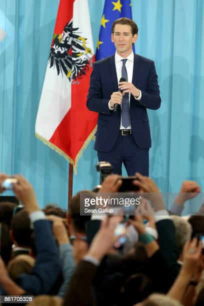 Sebastian Kurz Austrian Foreign Minister and leader of the conservative Austrian People's Party speaks to supporters after initial results give the...