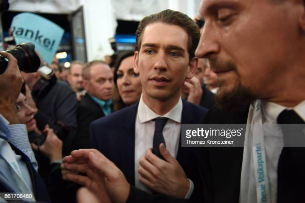 Sebastian Kurz Austrian Foreign Minister and leader of the conservative Austrian People's Party arrives at the party's election event after initial...