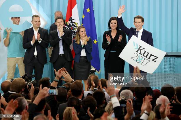 Sebastian Kurz Austrian Foreign Minister and leader of the conservative Austrian People's Party greets supporters as leading members of his campaign...