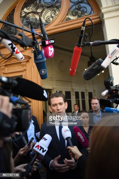 Sebastian Kurz Austrian Foreign Minister and leader of the conservative Austrian People's Party speaks to media as he leaves after the...
