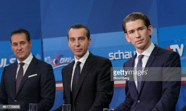 Sebastian Kurz Austria's foreign minister and leader of the People's Party from right Christian Kern Austria's chancellorand chairman of the Social...