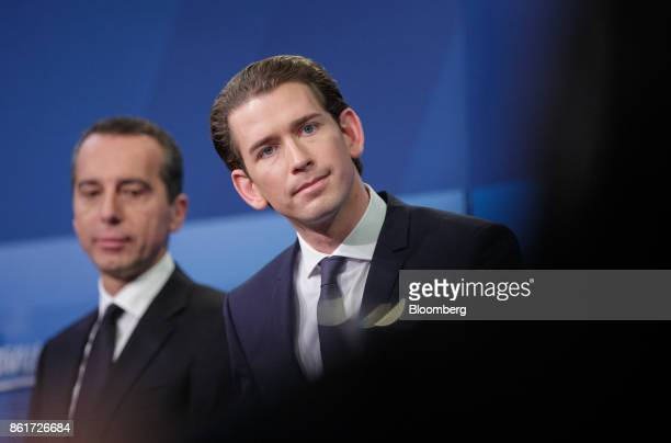 Sebastian Kurz Austria's foreign minister and leader of the People's Party and Christian Kern Austria's chancellorand chairman of the Social...
