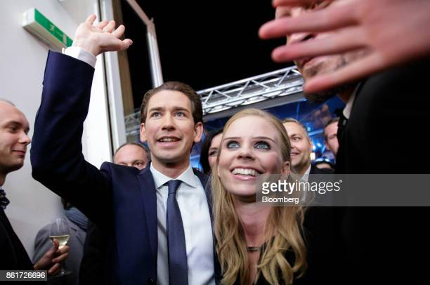 Sebastian Kurz Austria's foreign minister and leader of the People's Party left and girlfriend Susanne Thier arrive to celebrate a victory in the...