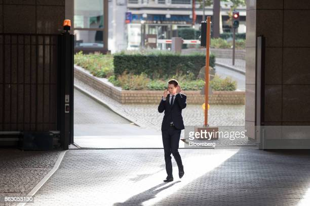 Sebastian Kurz Austria's foreign minister and leader of the People's Party speaks on his mobile phone outside a meeting of European Union leaders in...