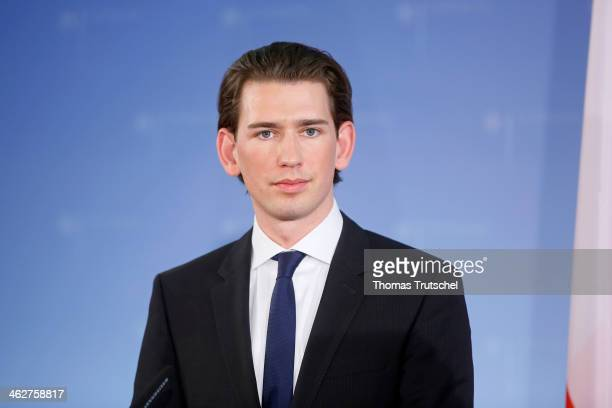 Sebastian Kurz Foreign Minister of Austria speak to the media on January 15 2014 in Berlin Germany