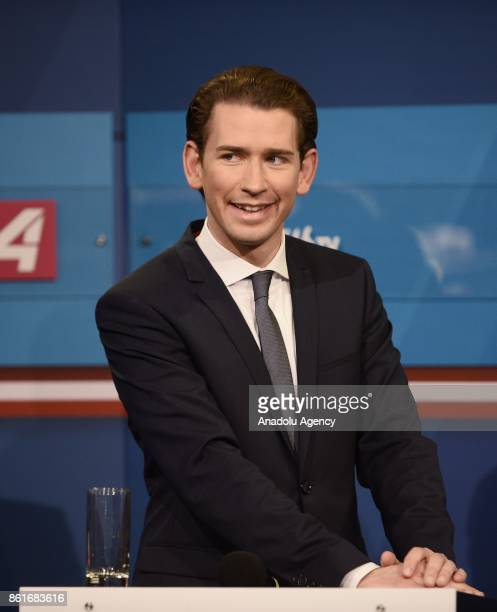 Sebastian Kurz leader of conservative OVP Christian Kern Austrian Chancellor and leader of SPO party and HeinzChristian Strache leader of...