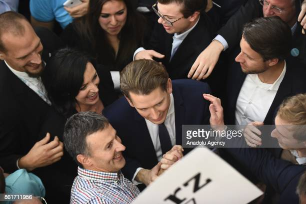 Sebastian Kurz leader of conservative OVP party speaks to his supporters during the celebration of the parliamentary elections in Vienna Austria on...