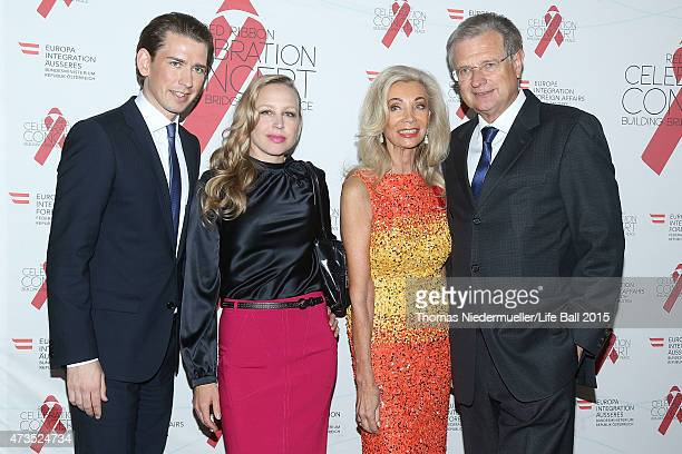 Sebastian Kurz Nina Proll Elisabeth HimmerHirnigel Gery Keszler and Herbert Fechter attend the red carpet prior to the Red Ribbon Celebration Concert...