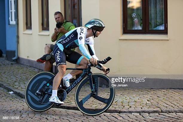 Sebastian Lander from Denmark riding for team One Pro Cycling during his Time Trial race in the PostNord Tour of Denmark in Nyborg Denmark on July 30...