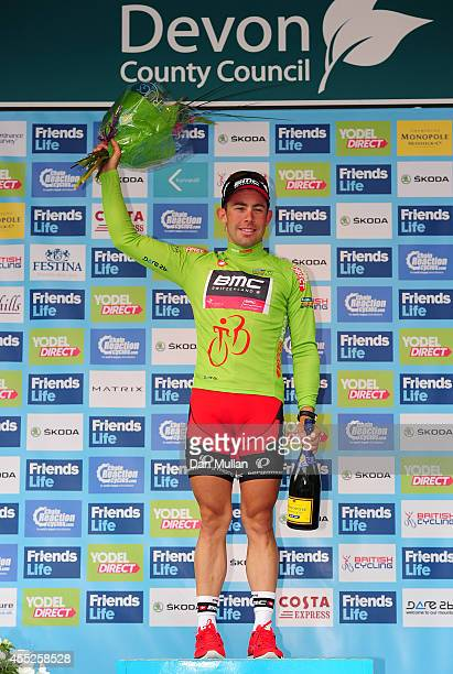 Sebastian Lander of Denmark and BMC Racing Team celebrates after retaining the sprinter's jersey following Stage Five of the 2014 Tour of Britain...