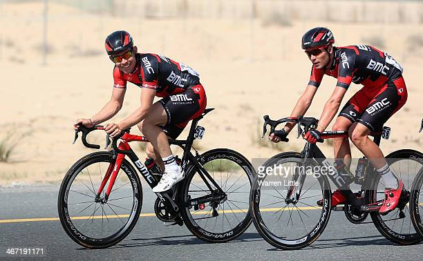 Sebastian Lander of Denmark and BMC Racing Team smiles as he races during stage two of the 2014 Tour of Dubai on February 6 2014 in Dubai United Arab...
