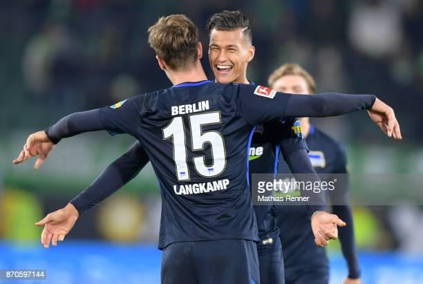 Sebastian Langkamp and Davie Selke of Hertha BSC after the game between VfL Wolfsburg and Hertha BSC on november 5 2017 in Wolfsburg Germany