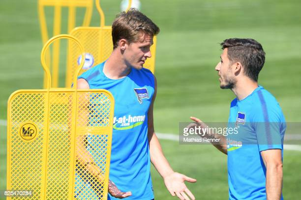 Sebastian Langkamp and Mathew Leckie of Hertha BSC chat during the training camp on august 2 2017 in Schladming Austria