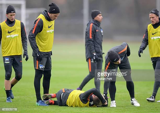 Sebastian Langkamp Arne Maier and Alexander Baumjohann of Hertha BSC during the training on november 15 2016 in Berlin Germany