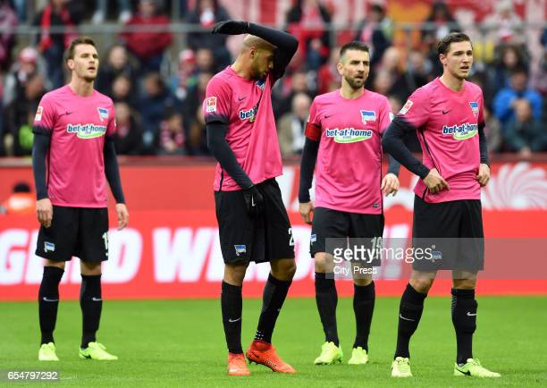 Sebastian Langkamp John Anthony Brooks Vedad Ibisevic and Niklas Stark of Hertha BSC during the game between dem 1 FC Koeln and Hertha BSC on march...